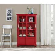 Altra Aaron Lane Bookcase with Sliding Glass Doors, Red (9448396PCOM)