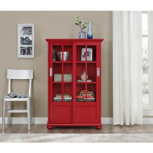Altra Aaron Lane Bookcase With Sliding Glass Doors Red 9448396pcom
