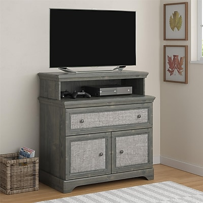 Altra Stone River Media Dresser with Fabric Inserts, Dark Gray Oak(5937213COM)