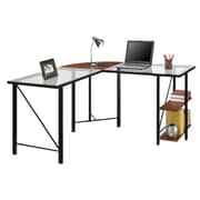 Altra Cruz Glass Top L Desk, Cherry/Black (9379196COM)