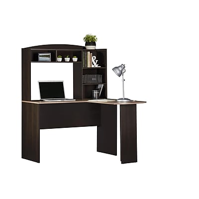 Altra Sutton L Desk with Hutch, Espresso/Rustic Medium Oak (9883308COM)