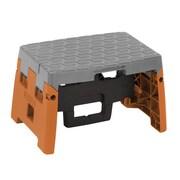COSCO 1 Step Molded Folding Step Stool, Black, Orange, and Gray (11903BGO1E)