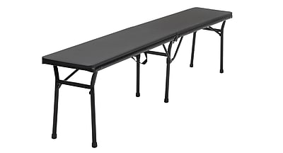 COSCO 6 ft. Indoor Outdoor Center Fold Tailgate Bench with Carrying Handle, Black, 2-pack (14416BLK2E)