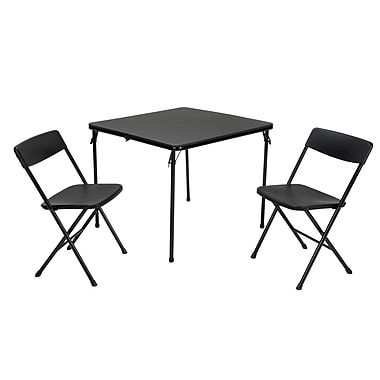 COSCO 3 Piece Indoor Outdoor Center Fold Table and 2 Chairs Tailgate Set, Black (37334BLK1E)