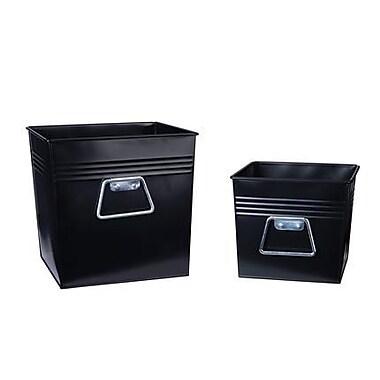 Household Essentials Decorative Metal Bin2 Piece Set, Medium and Small, Black