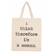 Retrospect Group Natural Canvas I think therefore i'm a woman. Tote Bag 16.5 x 14.57 x 4.33 (RETV094)