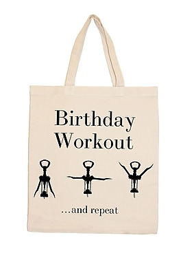 Retrospect Group Natural Canvas Birthday Workout Tote Bag 16.5 x 14.57 x 4.33 (RETV125)