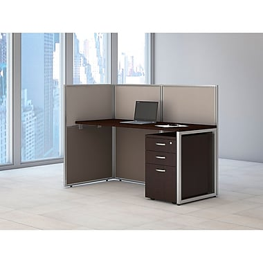Bush Business Furniture Easy Office 60W Straight Desk Open Office w/ 3 Dwr Mobile Ped- Installed, Mocha Cherry (EOD160SMR-03KFA)