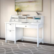 Bush Furniture Broadview Computer Desk with 2 Drawer Pedestal and Organizer, Pure White (BD005WH)