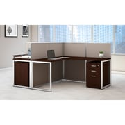 Bush Business Furniture Easy Office 60W 2Person LShaped Desk Open Office w/ Two 3 Dwr Mobile Peds, Mocha Ch (EOD560SMR-03KFA)