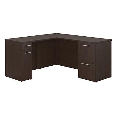 Bush Business Furniture Emerge 60W x 22D L Shaped Desk with Storage, Mocha Cherry (300S116MR)