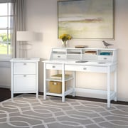Bush Business Furniture Broadview Computer Desk with Open Storage, Organizer and File Cabinet, Pure White (BD003WH)
