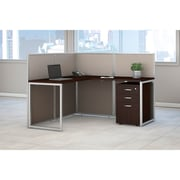 Bush Business Furniture Easy Office 60W L Shaped Desk Open Office with 3 Drawer Mobile Pedestal, Mocha Cherry (EOD360SMR-03KFA)
