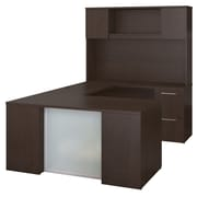 Bush Business Furniture  Emerge 60W x 30D U Shaped Desk with Hutch, 2 and 3 Drawer Pedestals, Mocha Cherry (300S109MR)