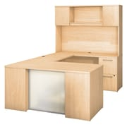 Bush Business Furniture Emerge 60W x 30D U Shaped Desk with Hutch, 2 and 3 Drawer Pedestals, Natural Maple (300S109AC)