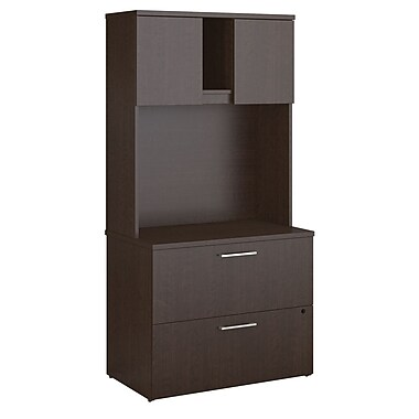 Bush Business Furniture Emerge Lateral File Cabinet with Hutch, Mocha Cherry (300S106MR)