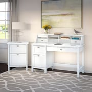 Bush Business Furniture Broadview Computer Desk with Pedestal, Organizer and File Cabinet, Pure White (BD007WH)