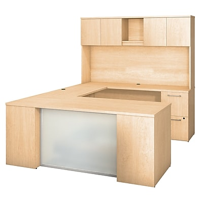 Bush Business Furniture Emerge 72W x 30D U Shaped Desk with Hutch, 2 and 3 Drawer Pedestals, Natural Maple (300S112AC)