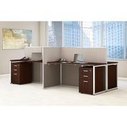Bush Business Furniture Easy Office 60W 4 Person Straight Desk Open Office w/ 3 Dwr Mobile Peds, Mocha Cherry (EOD660SMR-03K)