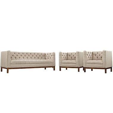 Modway Panache Living Room Set Fabric Set of 3 in Beige (889654079286)