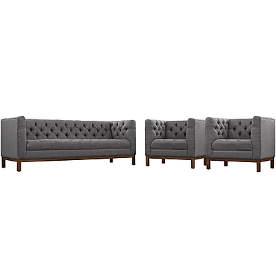 Modway Panache Living Room Set Fabric Set of 3 in Gray (889654079293)