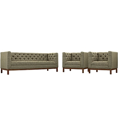Modway Panache Living Room Set Fabric Set of 3 in Oatmeal (889654079323)