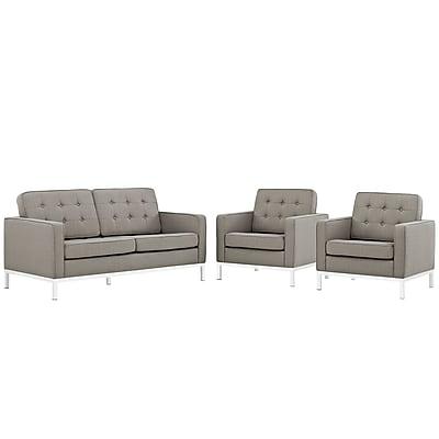 Modway Loft Living Room Set Fabric Set of 3 in Granite (889654083207)