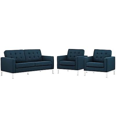 Modway Loft Living Room Set Fabric Set of 3 in Azure (889654082033)