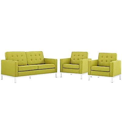 Modway Loft Living Room Set Fabric Set of 3 in Wheatgrass (889654082064)