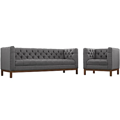 Modway Panache Living Room Set Fabric Set of 2 in Gray (889654081975)