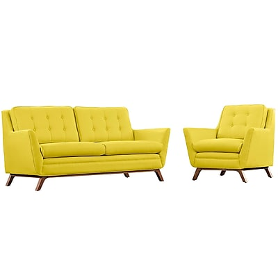 Modway Beguile Living Room Set Fabric Set of 2 in Sunny (889654079101)