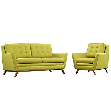Modway Beguile Living Room Set Fabric Set of 2 in Wheatgrass (889654079118)
