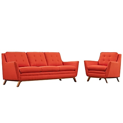 Modway Beguile Living Room Set Fabric Set of 2 in Atomic Red (889654079125)