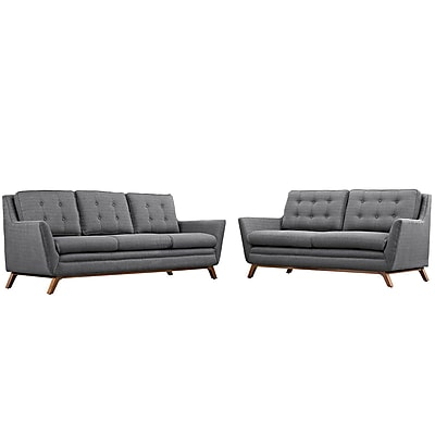 Modway Beguile Living Room Set Fabric Set of 2 in Gray (889654079217)
