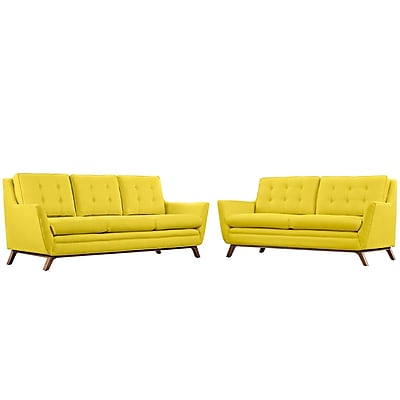 Modway Beguile Living Room Set Fabric Set of 2 in Sunny (889654079248)