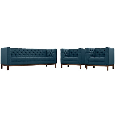 Modway Panache Living Room Set Fabric Set of 3 in Azure (889654079279)