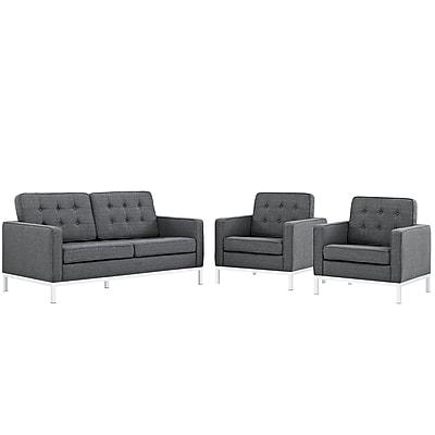 Modway Loft Living Room Set Fabric Set of 3 in Gray (889654083191)