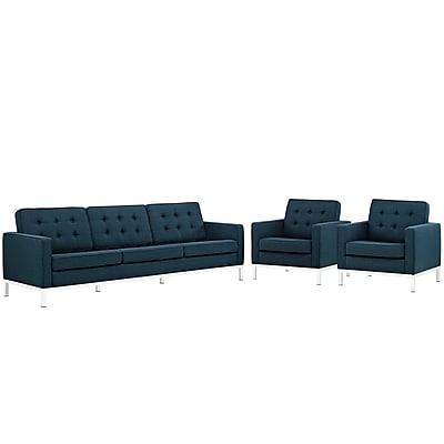 Modway Loft Living Room Set Fabric Set of 3 in Azure (889654082071)