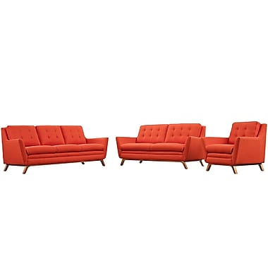 Modway Beguile Living Room Set Fabric Set of 3 in Atomic Red (889654078982)