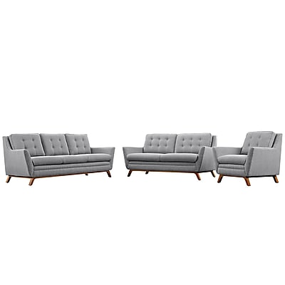 Modway Beguile Living Room Set Fabric Set of 3 in Expectation Gray (889654079019)