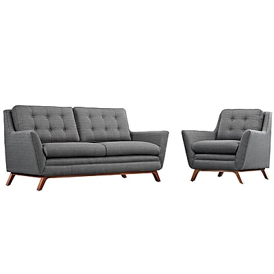 Modway Beguile Living Room Set Fabric Set of 2 in Gray (889654079071)