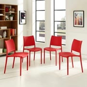 Hipster Dining Side Chair Set of 4 in Red (889654078258)