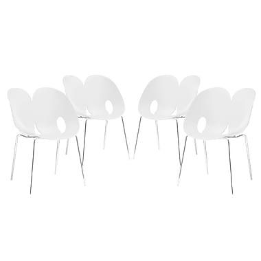 Modway Envelope Dining Set of 4 in White (889654069331)