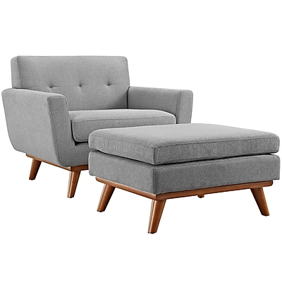 Engage 2 Piece Armchair and Ottoman in Expectation Gray (889654055334)