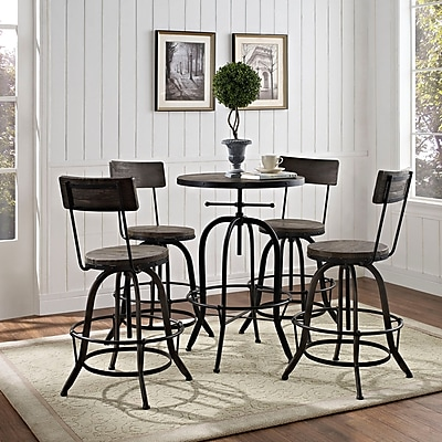 Modway Gather 5 Piece Dining Set in Black (848387057756)