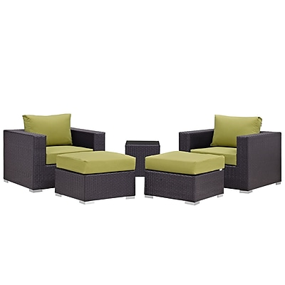 Modway Convene 5 Piece Outdoor Patio Sectional Set in Espresso Peridot (889654060536)