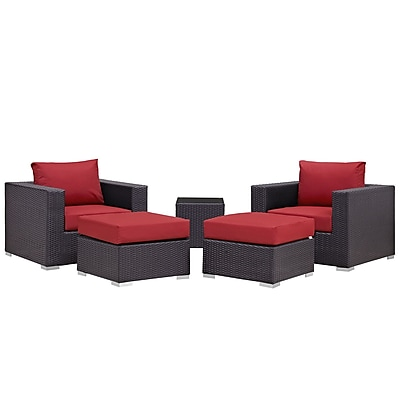 Modway Convene 5 Piece Outdoor Patio Sectional Set in Espresso Red (889654060543)