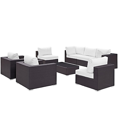 Modway Convene 8 Piece Outdoor Patio Sectional Set in Espresso White (889654060703)