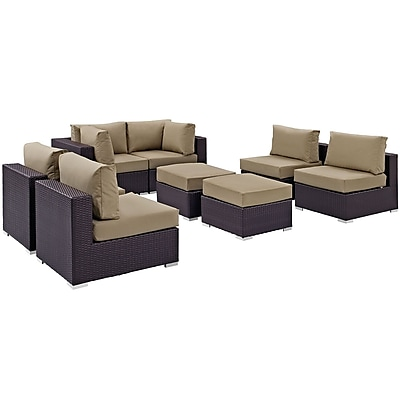 Modway Convene 8 Piece Outdoor Patio Sectional Set in Espresso Mocha (889654060727)