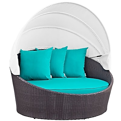 Modway Convene Canopy Outdoor Patio Daybed in Espresso Turquoise (889654045724)